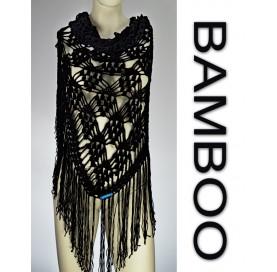 Handmade crochet shawl on black bamboo 100% with fringes