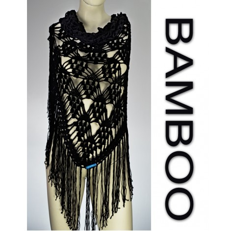 Handmade crochet shawl on black bamboo 100% with fringes