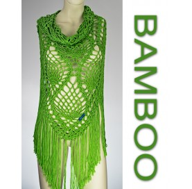 handmade crochet Shawl on bamboo 100% GREEN with fringes