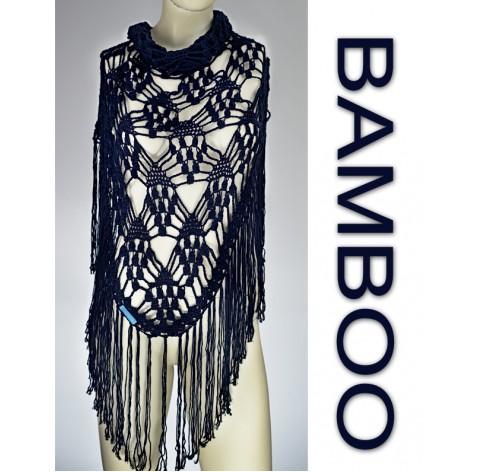 handmade crochet Shawl on bamboo 100% DARK BLUE with fringes