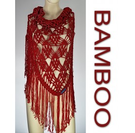 handmade crochet Shawl on bamboo 100% red with fringes