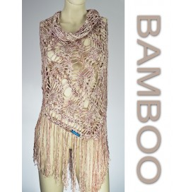 handmade crochet Shawl on bamboo 100% print pink beige with fringes