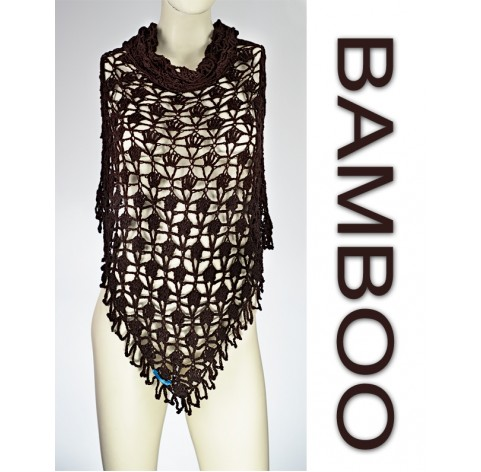 handmade crochet Shawl on bamboo 100% BROWN with fringes