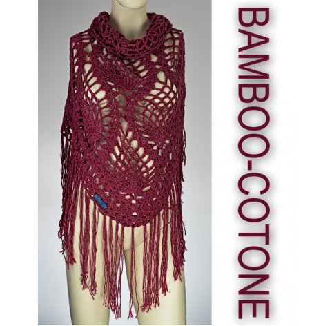 handmade crochet Shawl on bamboo 50% and cotton 50% hot pink with fringes