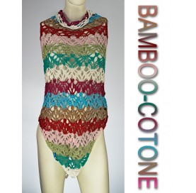 Shawl on bamboo and cotton COLORED STRIPES