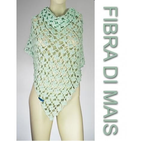handmade crochet shawl on corn fiber GREEN