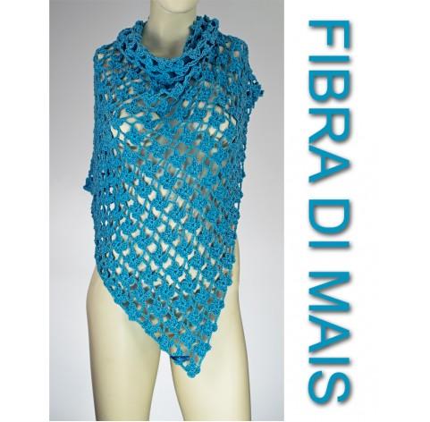 handmade crochet Shawl on corn fiber TORQUESE