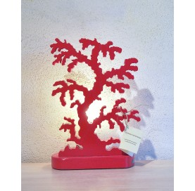 Hand made lamp in ash wood on Coral shape