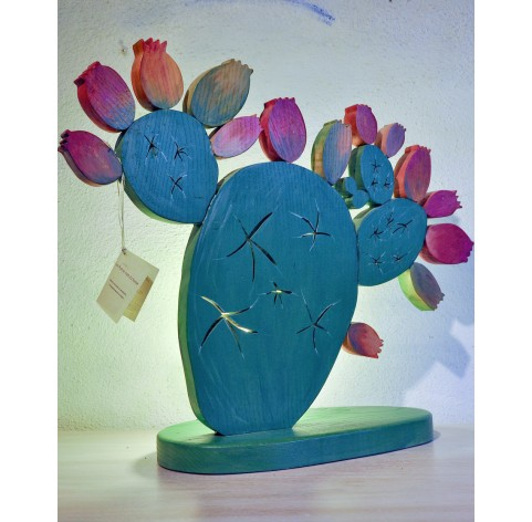 Hand made green lamp in ash wood on Prickly pear shape