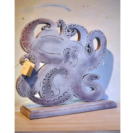 Hand made white-purple lamp in ash wood on octopus shape