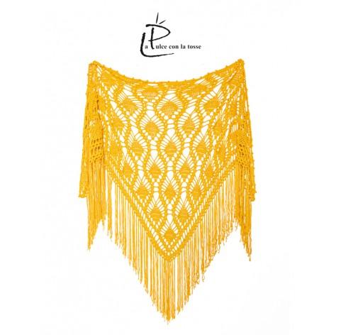 handmade crochet Shawl on bamboo 100% MOSTARD