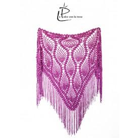 handmade crochet Shawl on bamboo 100% PURPLE