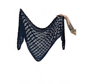 handmade crochet Shawl on bamboo 100% BLUE