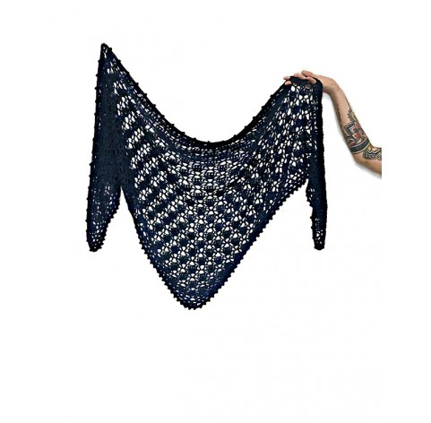 handmade crochet Shawl on bamboo 100% BLUE