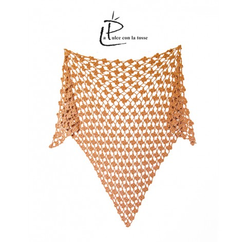 handmade crochet shawl on corn fiber camel