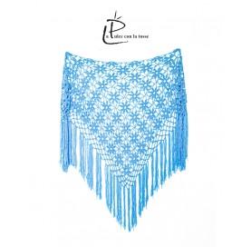 handmade crochet shawl on corn fiber tourquise